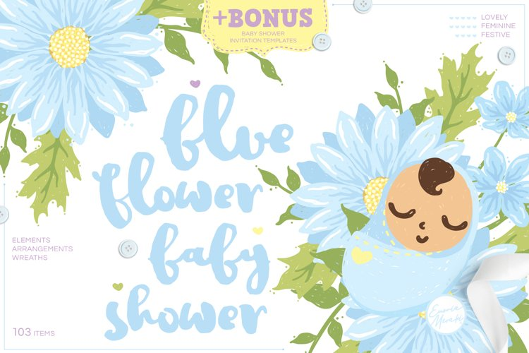 Blue Flower Baby Shower with Invitation Templates