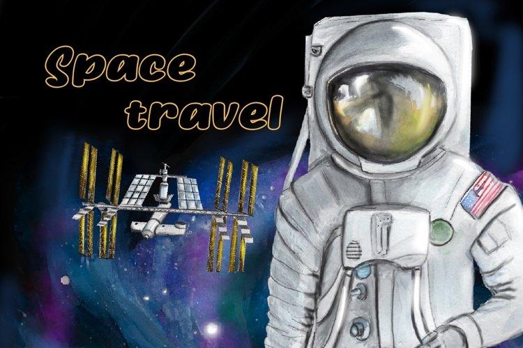 Astronaut clipart, watercolor space clipart, planets clipart