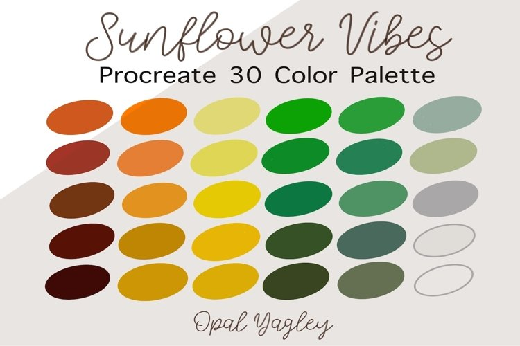 Sunflower Vibes Procreate Color Palette / Bright Floral example image 1