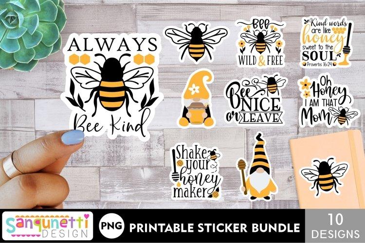 Bees sticker printable bundle - 10 PNG designs