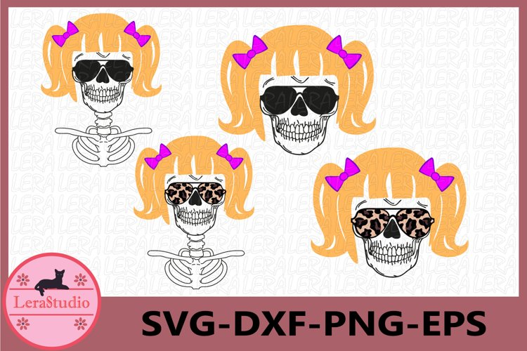 little Girl Skull Svg, Skull Head, Skeleton svg example image 1