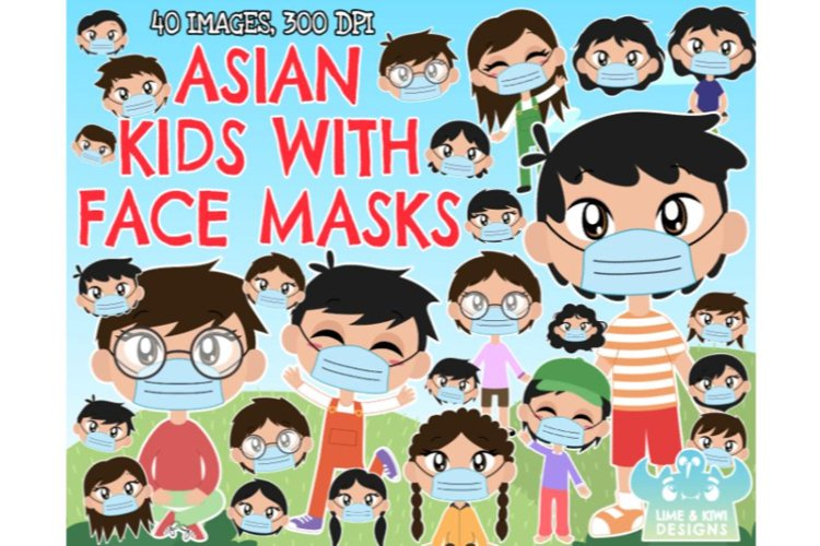 Asian Kids with Face Masks Clipart - Lime and Kiwi Designs