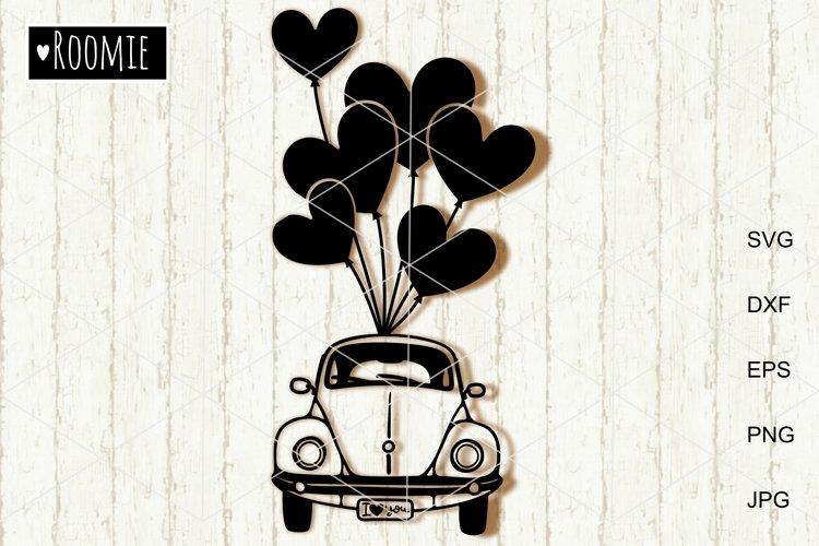 Valentine heart truck Svg, Retro car, i love you Shirt, Card example image 1