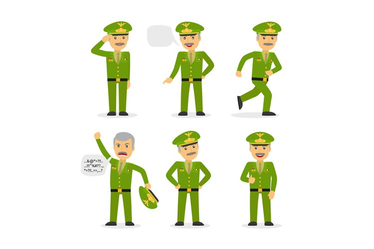 Military general character vector example image 1