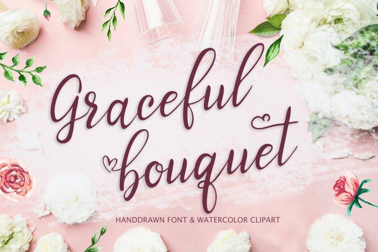 Graceful bouquet-lovely font&clipart