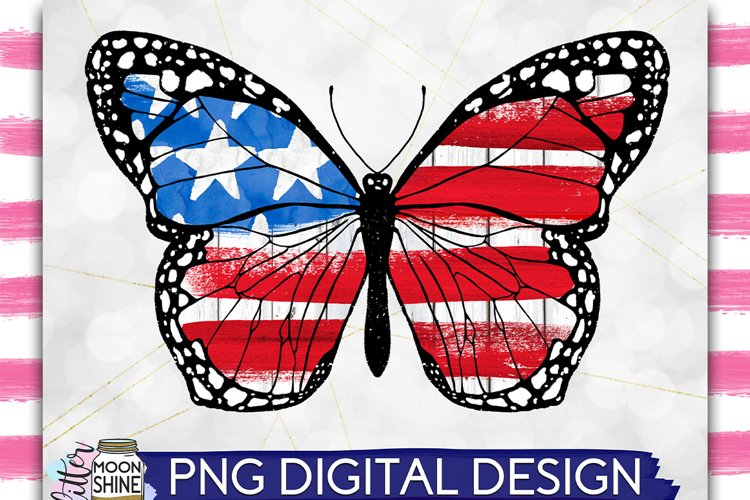 Patriotic Butterfly PNG Sublimation Design