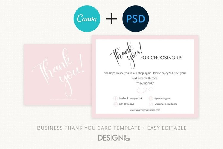 Business Thank You Card Template, Order Template Purchase
