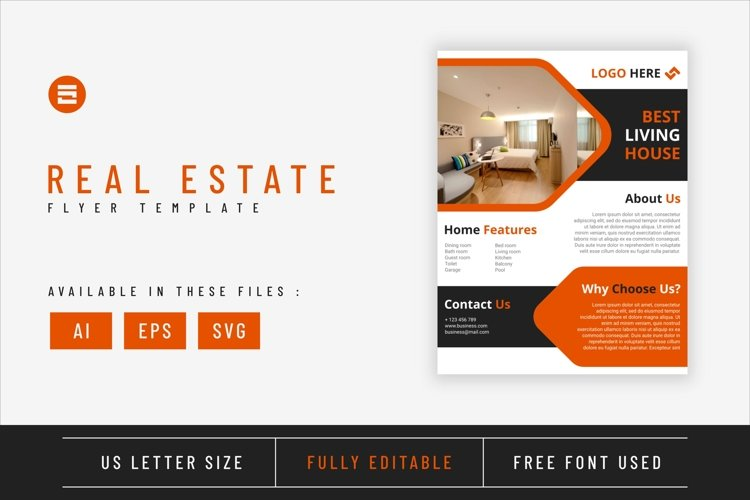 Real estate flyer template with orange geometry shapes example image 1