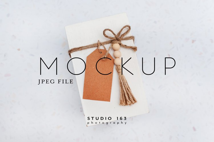 Brown Gift Tag Mockup, Stock Photo, JPEG example image 1