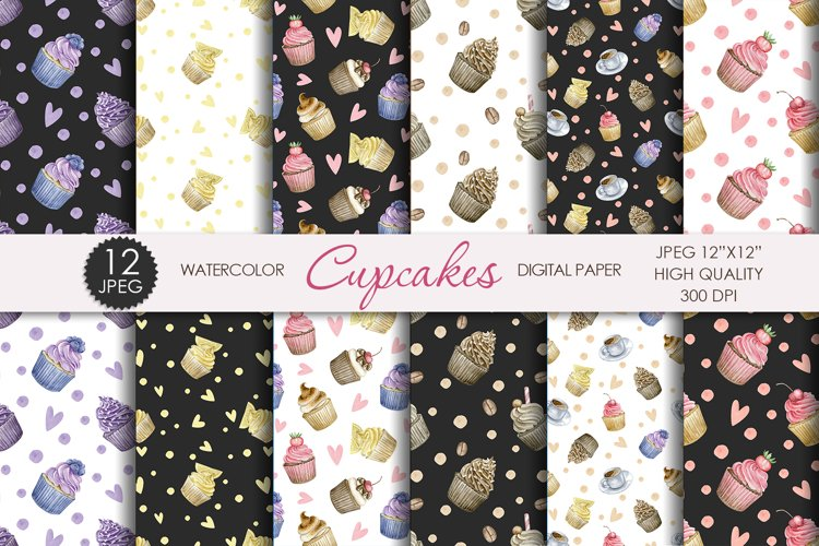 Watercolor sweet cupcakes digital paper. Dessert patterns.