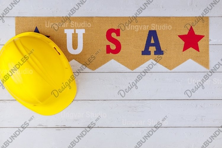 USA in the yellow helmet Happy Labor day american patriotic