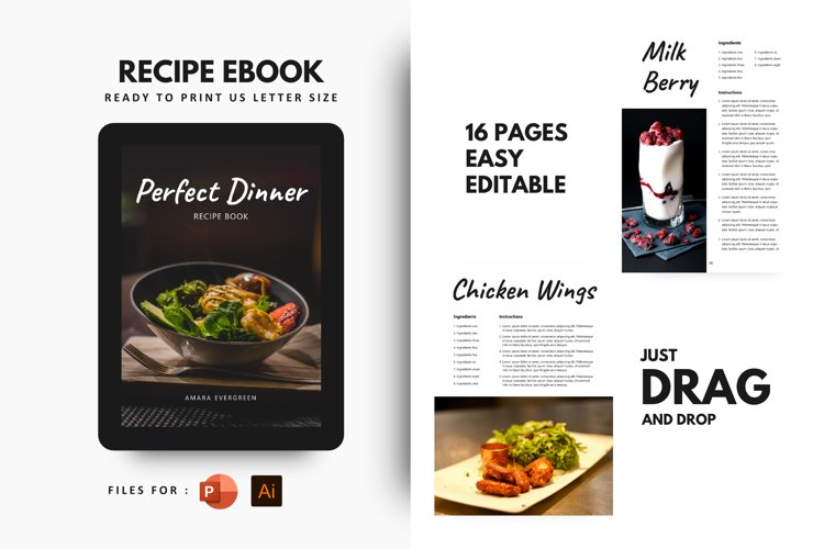 Perfect dinner recipes ebook template