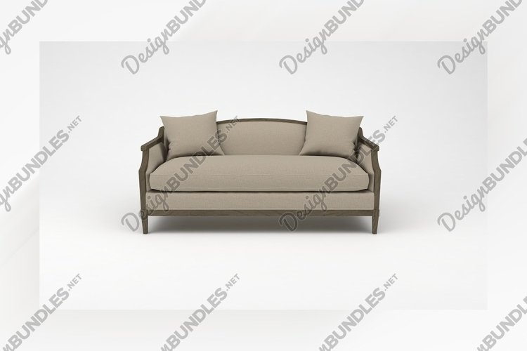 Wooden sofa front view furniture 3d rendering example image 1