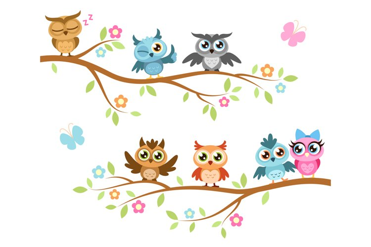 Owls on a branch. Colorful cute friends owls sitting on bran example image 1