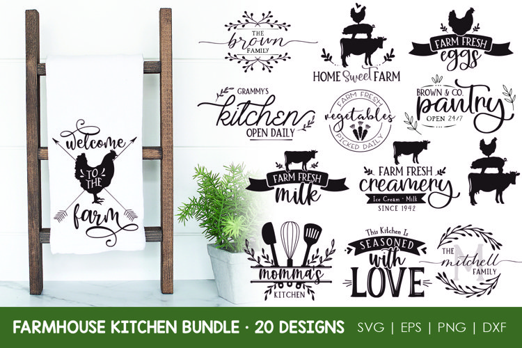 Farmhouse Kitchen SVG Bundle, Farmhouse Kitchen Cut Files