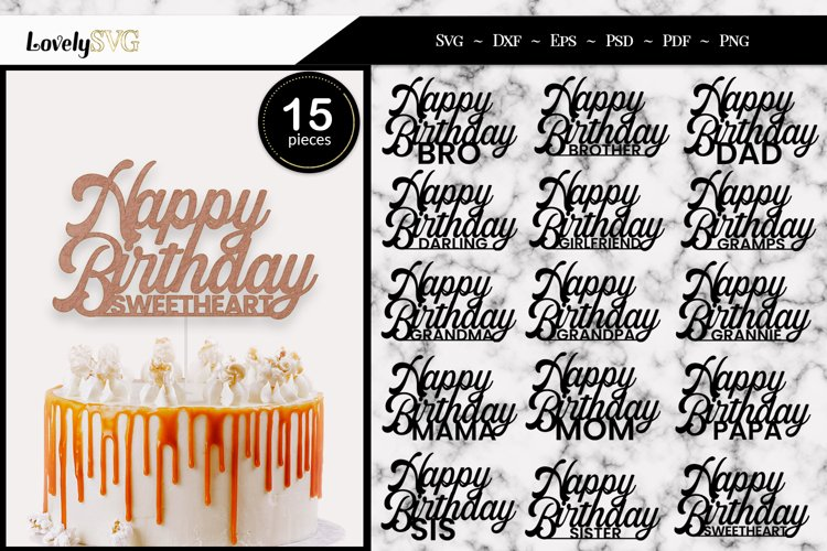 Happy Birthday Cake Toppers, SVG Cut Files