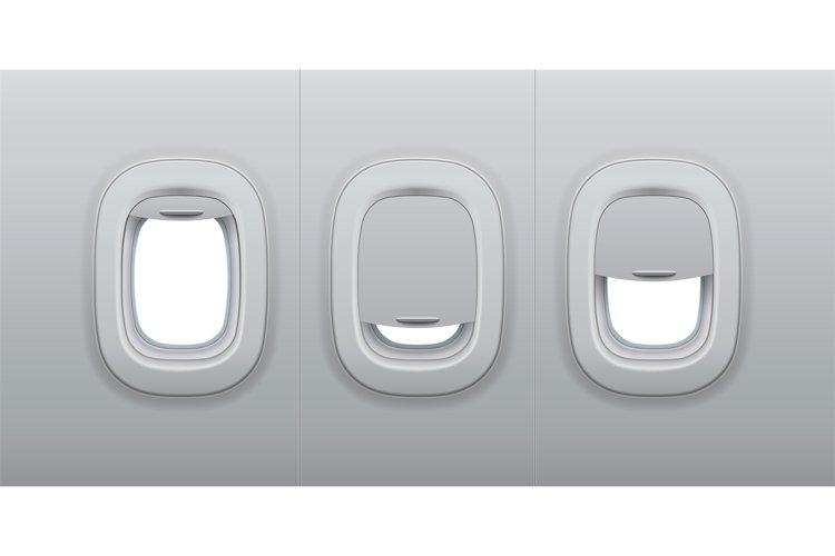 Aircraft windows. Airplane indoor portholes, plane interior example image 1