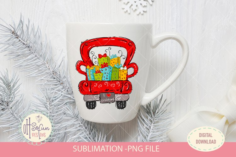 Christmas gift truck, sublimation png, whimsical design