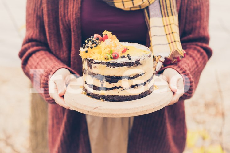Female hands holding a brown cake. Outdoors and autumn