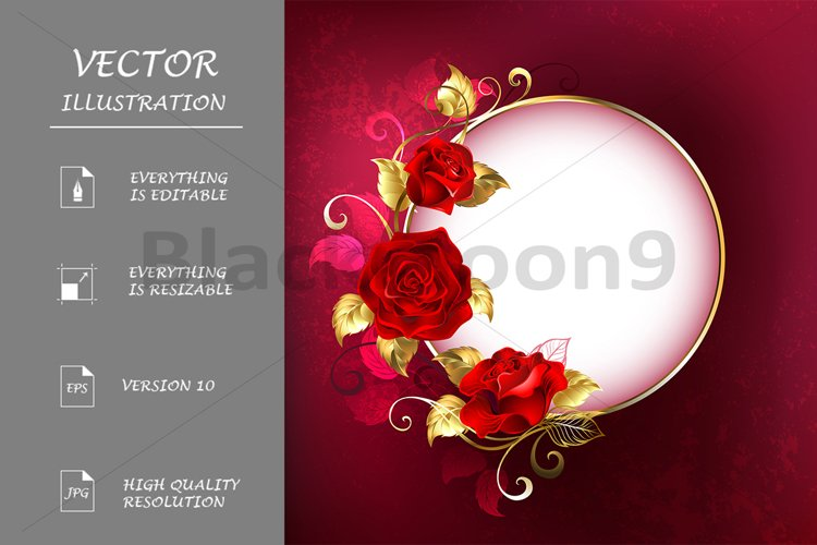 Round Banner with Red Roses example image 1