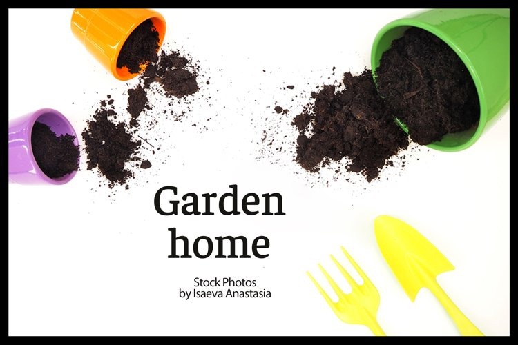 white background with garden tools example image 1