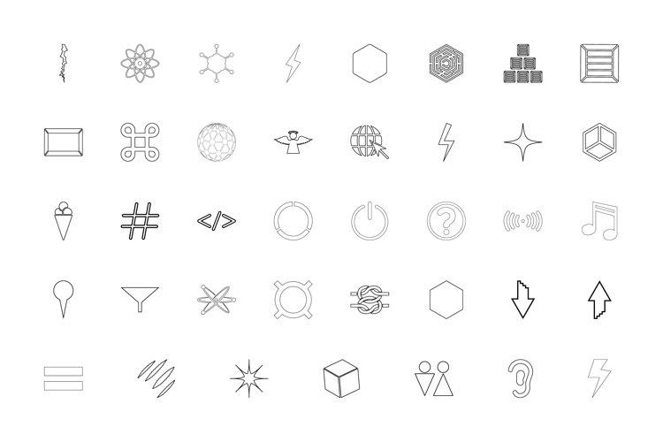Shape symbol sing web black color set outline style example image 1