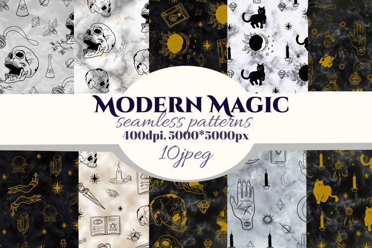 Magic, Occult, Witchcraft, Spiritual seamless pattern.