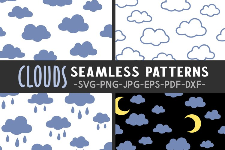 Clouds seamless pattern svg Cloud pattern Cloud svg Moon svg