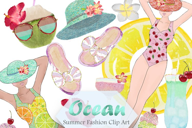 Summer Pool Party Clipart, Summer PNG, Beach Travel Digital example image 1