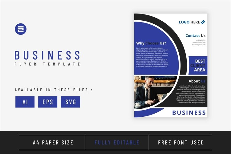 Business flyer template with dark blue geometry shapes