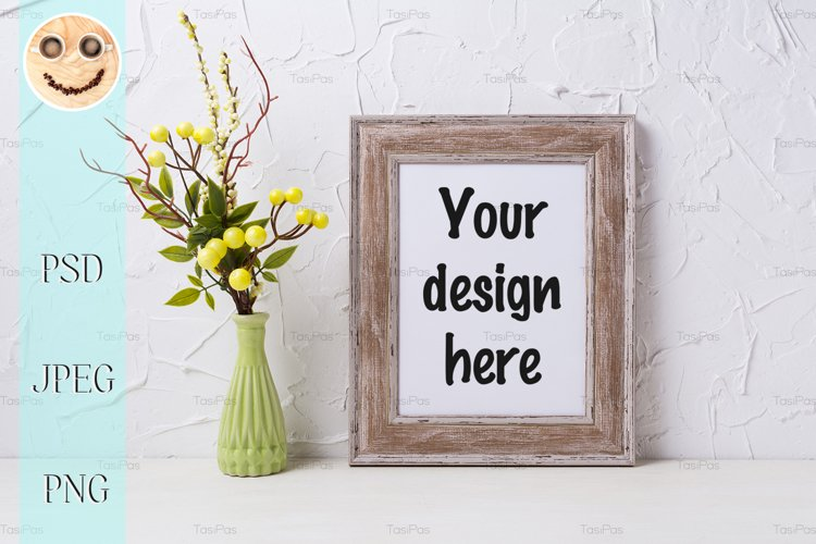 Rustic wooden frame mockup with green vase example image 1