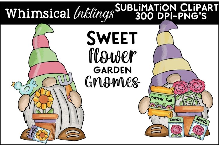 Sweet Flower Garden Gnomes Sublimation Clipart example image 1