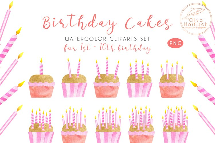 Watercolor Birthday Cakes with Candles Cute Clipart Set
