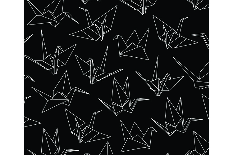 Paper Cranes Seamless Pattern example image 1