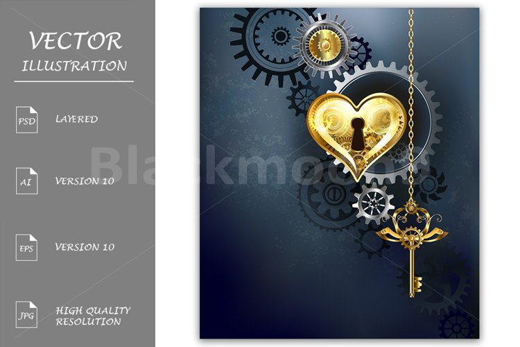 Mechanical Heart with Key ( Steampunk ) example image 1