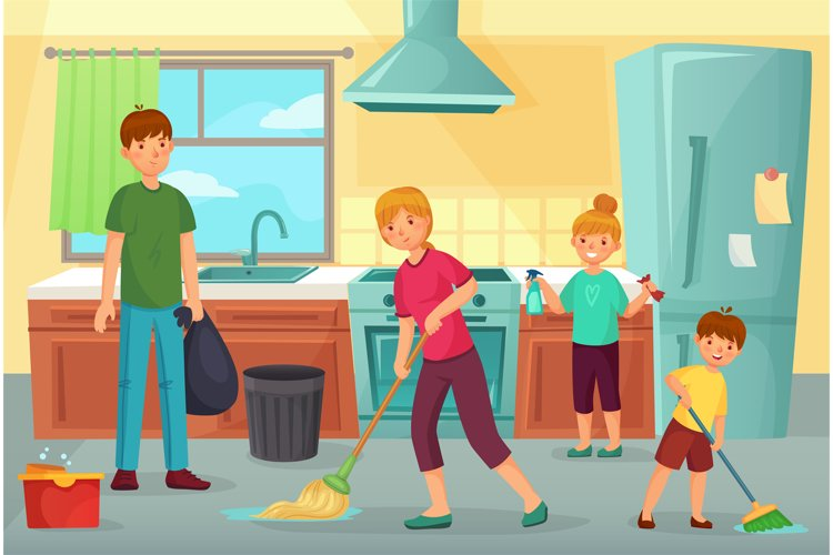 Family cleaning kitchen. Father, mother and kids clean cuisi example image 1