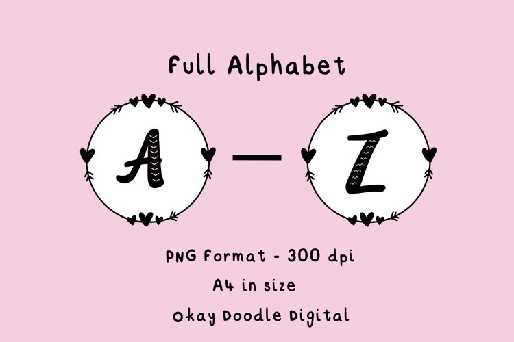 Printable Full Alphabet A-Z - PNG files, digital download.