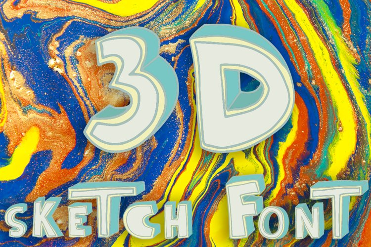 3D style sketch font example image 1