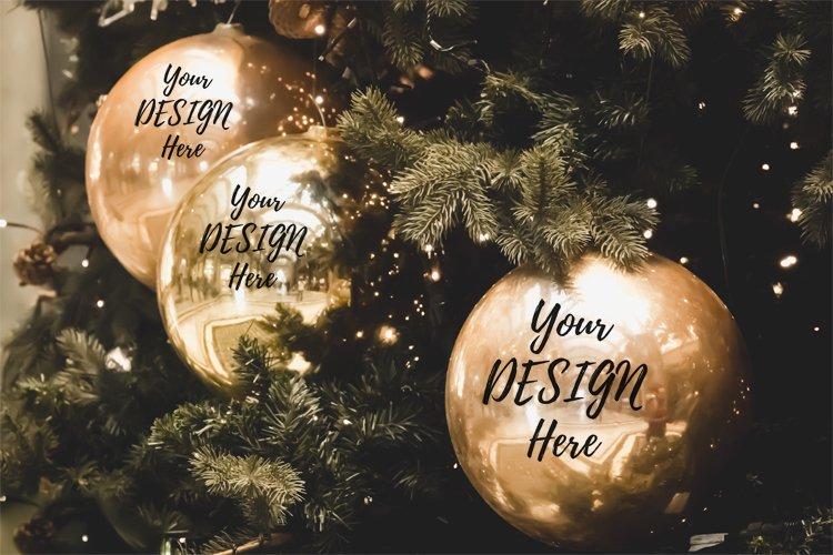 Christmas ornaments mockup, golden bauble mockup example image 1