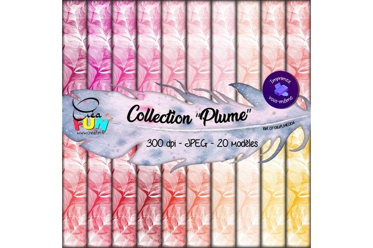 Lot de 20 papiers numériques - Collection Plume 04