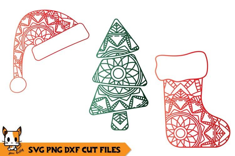 Christmas Zentangle Set Hat Tree Socking Mandala Svg Files 372617 Cut Files Design Bundles
