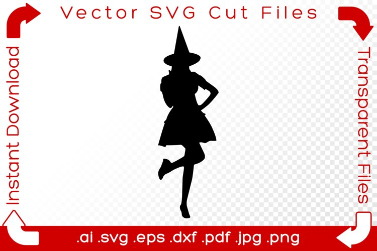 Witch SVG Black Silhouette Shape Halloween Vector Cut Files example image 1