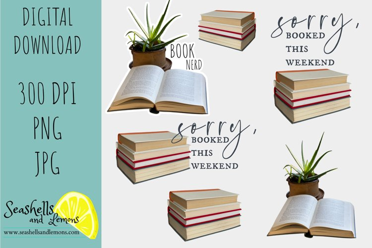 Book Nerd-Book Lovers-Book Stack-Books Graphics-Aloe Plant example image 1