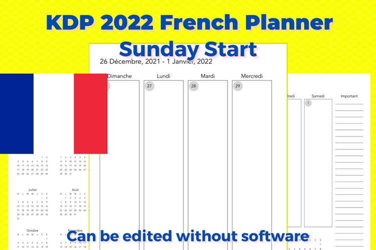 KDP 2022 French Vertical Planner, Sunday Start