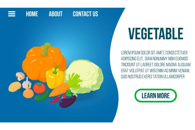 Vegetable concept banner, isometric style example image 1