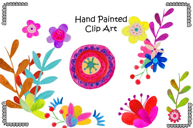 Hand Painted Bright Floral Clipart example image 1