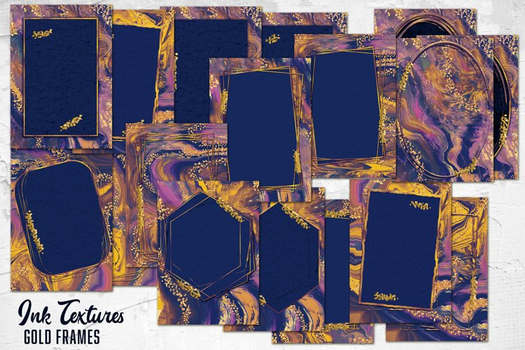 Modern Abstract geometric frames. Ink Textures. Abstract Art example image 1