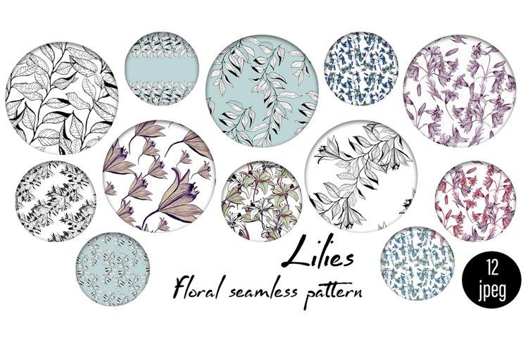 Spring digital paper, lilies flowers example image 1