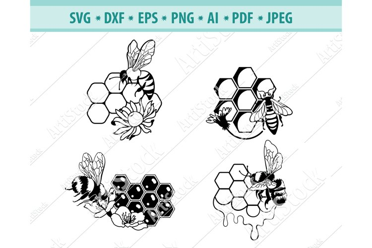 Bee SVG, Queen Bee Svg, Bee with Honeycomb Png, Eps, Dxf example image 1