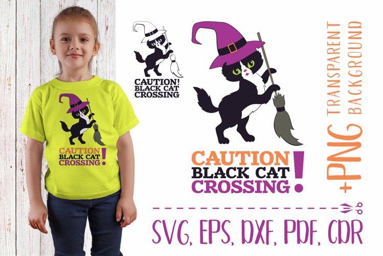 Caution! Black cat crossing. Cutting SVG